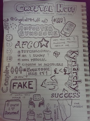 Andrew Polhill drew these sketch notes of my Impostor Syndrome talk!