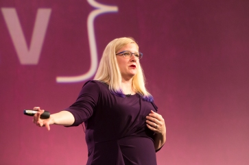 Crystal Huff, speaking at The Lead Developer 2016 in London, UK. Photo by Katura Jensen.