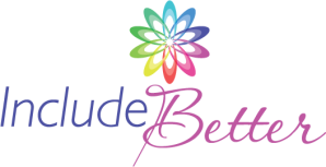 "Include Better logo, the words ""Include Better"" with a rainbow spin-wheel above"