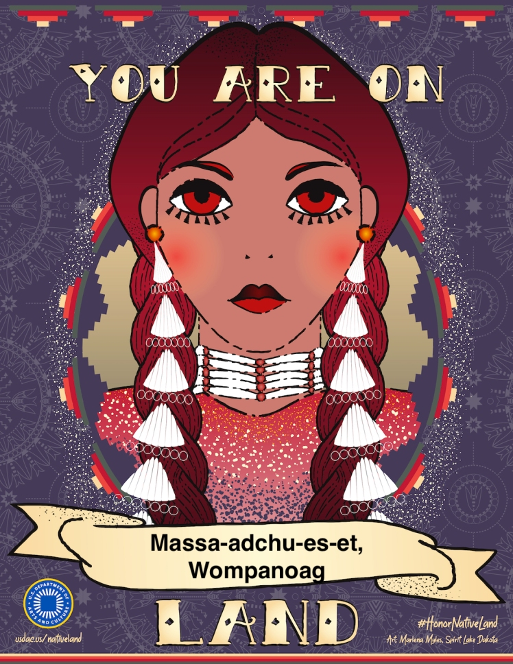 You are on Massa-adchu-es-et, Wompanoag Lands in the Boston area. Image of a native person with two braids and a beaded necklace.